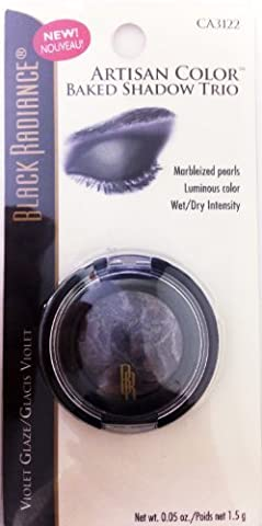Black Radiance Artisan Color Baked Eyeshadow Trio Marbleized Pearls Luminous Color Wet/dry Intensity Ca3122 Violet Glaze by Black