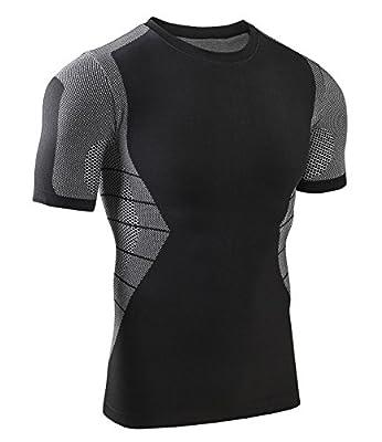 Bwiv Herren Funktionswäsche Atmungsaktiv Kompression Shirt Jungen Kurzarm Leicht Fitness Gym Sport Shirt M-XL