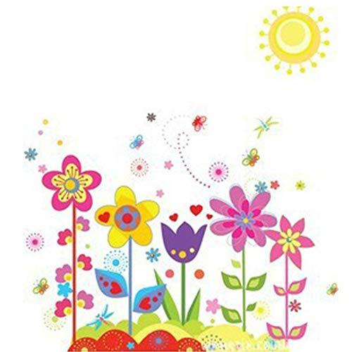FTXJ Autocollant Mural, Multicolore Fleur Papillon Amovible Vinyle Art Mural Home Decor Enfants