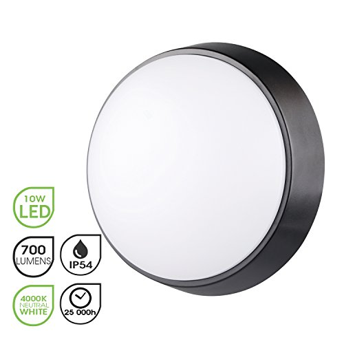 Lámpara LED para Pared y Techo Luz Nocturna LED Circular 10W 4000K IP54 de Luz Suave para Interiores...