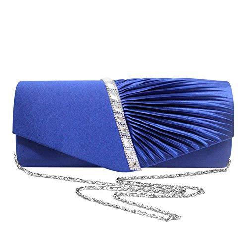 Weiß Abend-handtasche (Navigatee Frauen Party Abend Handtasche - Strass Intarsien + Twill, Clutch, Geldbörse, Crossbody-Tasche für Hochzeit, Party, Abschlussball, Fancy Events (Blau))
