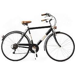 Via Veneto by Canellini Bicicleta Bici Citybike CTB Hombre Vintage Retro Via Veneto Acero Cafè Race (Negro, 50)