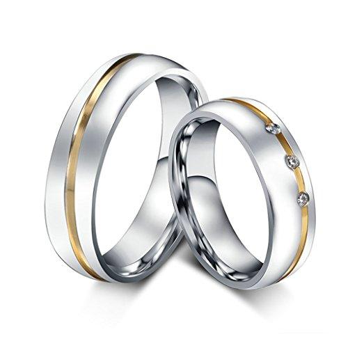Jsfyou berretto da donna two-tones acciaio inossidabile coppia set di fedi nuziali lui e lei promessa anelli di fidanzamento, donne dimensione 13,5 & uomini dimensione 19,5, colore: Silver Gold, cod. CLE247