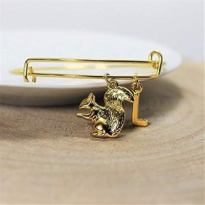 Bracelet ÉCUREUIL personnalisé | Bracelet ANIMAL | Bijou à initiale | Bijou personnalisé | Bijou pierre de naissance | Cadeau femme personnalisé