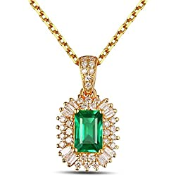 4e57eb113bcd Epinki 18k Oro Collar de Mujer óvalo Colgante Joyería Nupcial Cadena Oro  con Blanco Verde Diamante