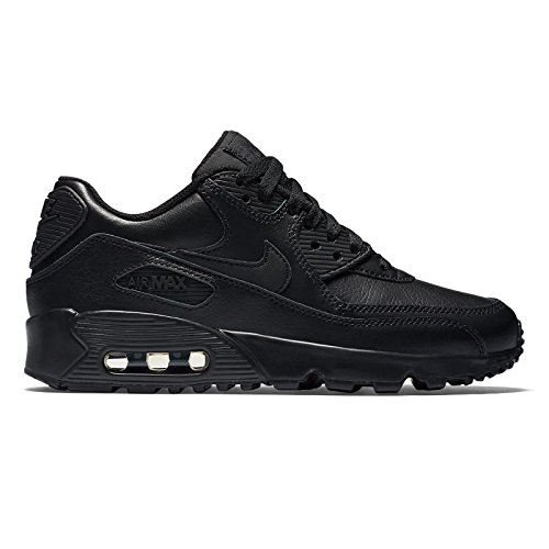 NIKE Air Max 90 Leather (GS), Scarpe da Ginnastica Uomo, Nero (Black/Black 001), 39 EU