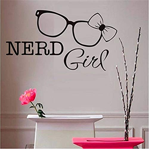 wandaufkleber schlafzimmer Nerd Girl Wall Stickers Glasses Bow Tie Wall Decals Removable Vinyl Art Decal Home Decor For Girl Bedroom