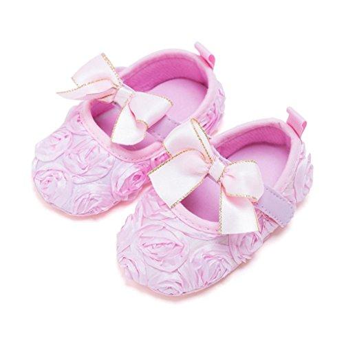 Igemy 1Paar Neugeborene Baby Soft Bottom Anti-Rutsch Schuhe Mädchen Blumen Schuhe Rosa