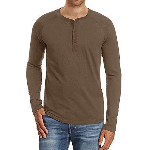 B-commerce Fashion Basic Man T-Shirt - Herren Slim Fit Lässige Kleidung Langarm Shirt mit V Ausschnitt, festes ()