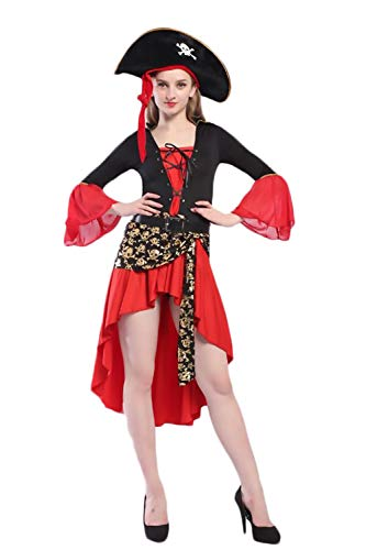 Matrosen Tanz Kostüm Kinder - BOLAWOO-77 Piratenkostüm Faschingskostüme Damen Kleider+Mütze+Gürtel Cosplaykarnevalskostüme Fasching Halloween Kostüm Wikinger Kostüm Mädchen Langarm Vintage Slim Fit One Size Bust 100 Waist 80 cm