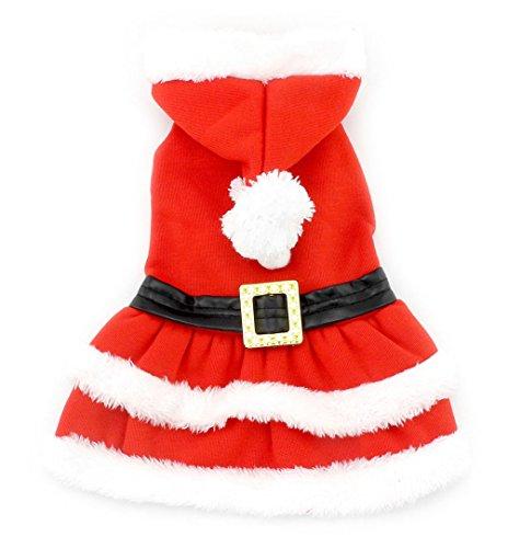 Imagen de smalllee _ lucky _ store pequeño perro ropa para niñas niños gato perro navidad disfraz con capucha de piel sintética. vestido cinturón decorado invierno rojo