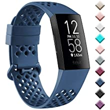 Oumida Compatible for Fitbit Charge 3 Strap/Fitbit Charge 4 Straps, Breathable Air hole Silicone Replacement Sport Accessory Wristband for Fitbit Charge 3/4 (Navy Blue, Large)