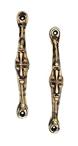 Two Moustaches Brass Tribal Face Handle Pair (Standard Size, Antique Brown) -2 Pieces