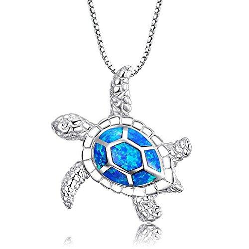 k [Gesundheit & Langlebigkeit] 925 Sterling Silber Schafft Blaue Opal Schildkröte Anhänger Halskette 18 ()