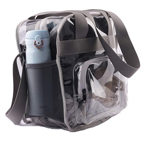 Haoguagua Stabile durchsichtige Stadium Tasche durchsichtige Umhängetasche, Umhängetasche, NFL & PGA Stadion genehmigt, 12 x 12 x 6 cm, mit extra langem verstellbarem Schultergurt und Griffen, grau
