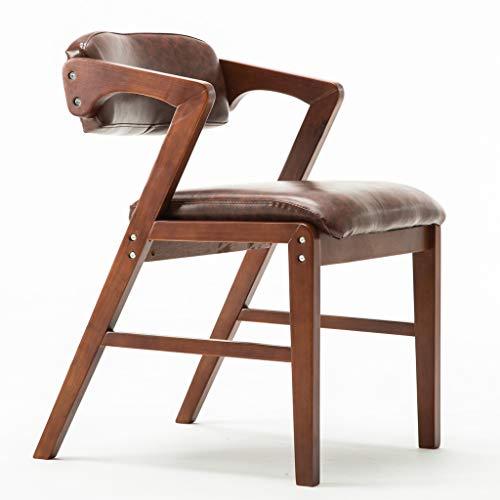 Mid Century Modern Solid Wood Esszimmerstühle Vintage Casual Dining Room Side Chair Gepolsterter Sitz Aus Pu-leder, Gummiholz Und Nussbaumholz Two Tone,Brown,WalnutWood -