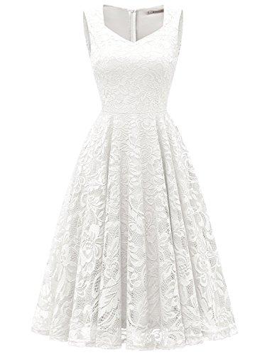 GardenWed Damen Elegant Spitzenkleid Strech Herzform Abendkleid Cocktailkleider Partykleider White...