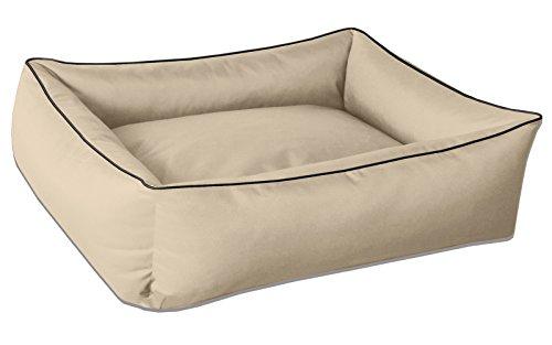 BedDog Hundebett MAX, großes Hundekörbchen aus Cordura, waschbares Hundebett mit Rand, Hundesofa Vier-eckig, für drinnen, draußen, XL, NAMIB-Sand, beige -