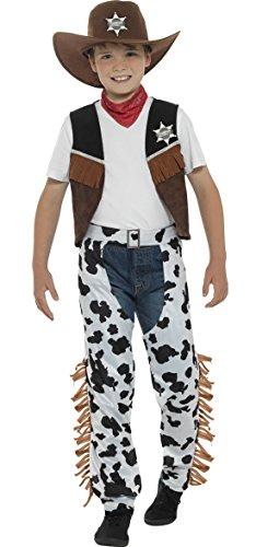 Halloweenia - Kinder Cowboy Sheriff Kostüm mit Halstuch und Chaps, 122-134, 7-9 Jahre, Mehrfarbig -