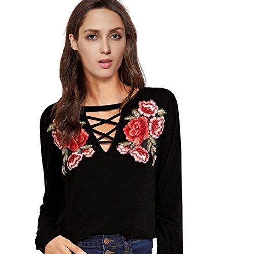 Damen Oberteile,DOLDOA V-Ausschnitt Einfarbig Stickerei Vorne Bandage Pullover Bluse Gr.40 - 46 (EU: 40, Schwarz - Stickerei Vorne Bandage Bluse) (Aqua-faltenrock)