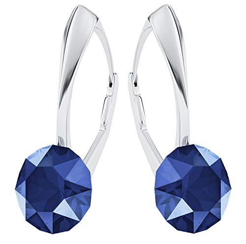 **Beforya Paris** *IMPECCABLE BRILLANTS* Silber 925 *Viele Farben* - Ohrringe mit Kristallen von Swarovski® - Schön Ohrringe Damen Ohrhänger - Wunderbare Ohrringe mit Schmuckbox PIN/75 (Royal Blue)