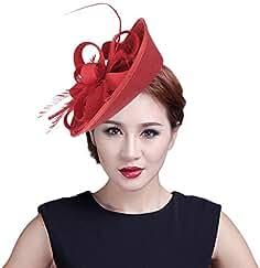 GEMVIE Tocados de Pelo Mujer Fiesta Boda Sombrero con Plumas Grande Rojo 0ade0d47ac4d