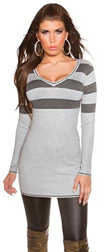 Koucla Damen Strickkleid & Pullover mit V-Ausschnitt und Streifen Einheitsgröße (34-38), grau (Streifen-strickkleid)