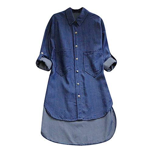 SEWORLD Damen Beiläufig Herbst Tägliche Solide Langarm Knopf Taschen Cowboy Revers Unregelmäßige Lange Hemd Bluse(Z3-Blau,EU-50/CN-4XL) (Cow-boy-party-taschen)
