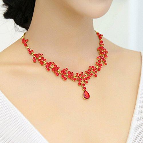 LnLyin Hochzeitsschmuck Set Kristall Diademe Halskette Ohrringe Set Damen Schmuck Set
