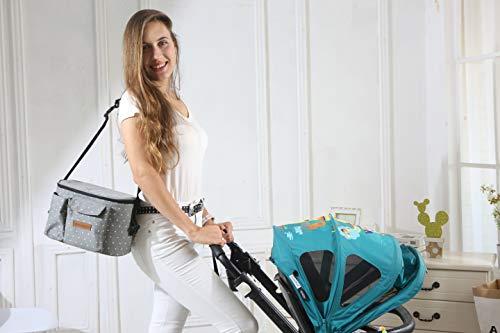 Bolsa Organizadora de Cochecitos para Mamá,Bolsa Carrito Bebe Súper Liviana, Multifuncional de Gran Capacidad para Almacenar 38,5 x 20,1 x 7,7 cm(Gris)