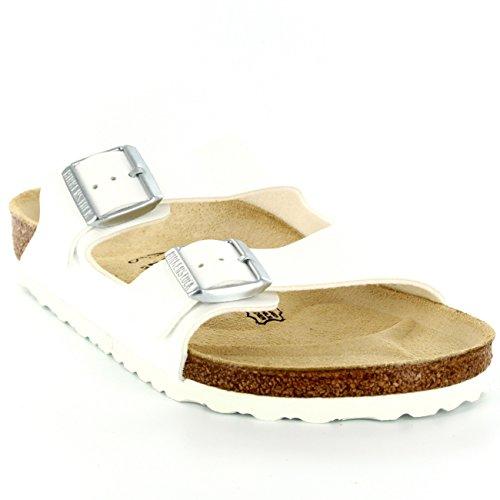 Damen Birkenstock Arizona Rutsch Sommer Urlaub Strand Lässig Sandalen Weiß