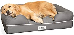 PetFusion Large Dog Bed w/Solid 10 cm Memory Foam, Waterproof liner, YKK premium zippers. [Grey, 92x71 cm - sized for Medium & Large Dogs]. Breathable cotton blend cover that is removable