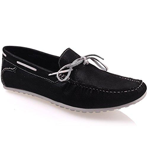 Unze Für Männer Grisby 'Leder Mokassins Schuhe - G00553 Schwarz
