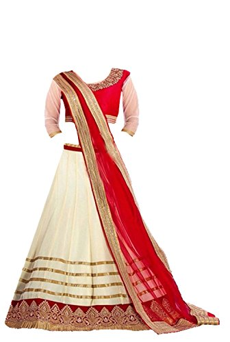 Clickedia Kids wear Girls Red and off-white Net Lehenga Choli/ Chaniya Choli for Festive???? Diwali and wedding - traditional wear ( 8-12 yrs)- Semi-Stitched alterable  available at amazon for Rs.349