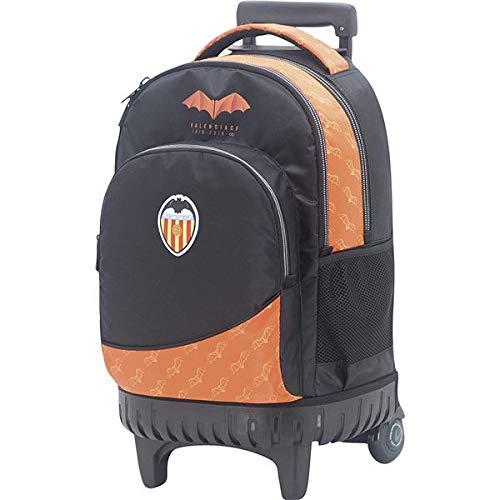 Mochila Valencia CF Centenario con Carro Fijo Cremallera Gruesa y Bolsillo Interior para Portátil/Tablet Color Negro y Naranja 35x44x23 cm