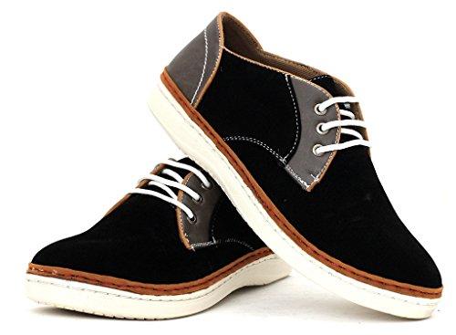 Chaussures Décontractés Pour Hommes Lacet Faux Daim Élégant Baskets Noir/Gris