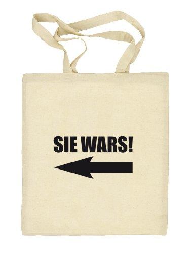 Shirtstreet24, SIE WARS! Stoffbeutel Jute Tasche (ONE SIZE) Natur