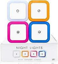 Lámpara Nocturna LED - Lampara de Noche Pack de 4 Luces en 4 Colores on Sensor de Luz - 0.5W LED - Ideal para Habitación de Bebé de Niño Vestíbul Sótan Garaje Baño Armario Cocina Escaleras - 2 Años de Garan
