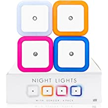 INSONDER – Luce Notturna LED 4 Pezzi 4 colori – 0.5W Illumina Solo di Notte Lampada Wireless da Parete, Bianco - Ideale per il Bambino Camera dei Bambini Camera - 2 Anni di