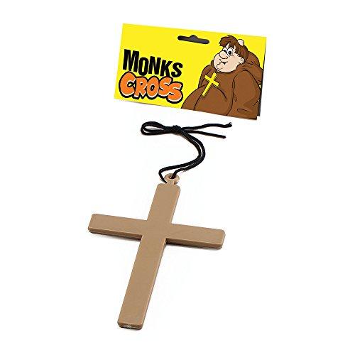 Bristol Novelty BA139 Mönch Kreuz, Gold, Unisex- Erwachsene, - Exorzist Kostüm Priester
