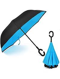 OYSHOPP Ombrello Inverso Antivento, C Forma impugnatura dritta Rod doppio strato invertito Ombrello per auto all'aperto