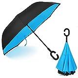 Ombrello Inverso Antivento, C Forma impugnatura dritta Rod doppio strato invertito Ombrello per auto all'aperto (Blu)(blue)