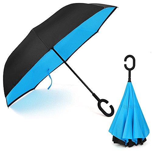 Parapluie Inversé innovant, Parapluie Canne Double Couche Coupe-Vent, Mains Libres poignée en Forme C - Idéal pour Voiture et Voyag
