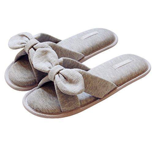 Fortuning's JDS Donne delle signore delle ragazze dell'arco del cotone Pantofole imbottito flatform aperto Sandali dita dei Grigio