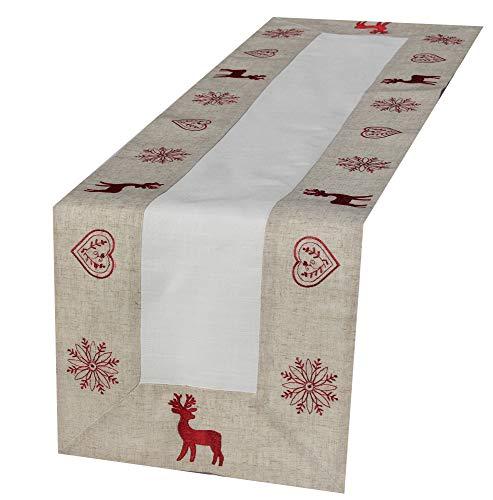 Camino mesa–ciervo–Beige blanco rojo bordado