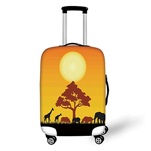 Travel Luggage Cover Suitcase Protector,Safari Decor,Silhouette of Rhinos Elephants Zebras Grassland and A Tree with Sun The Back,Orange Chocolate Black,for Travel Rainbow Butterfly Zebra