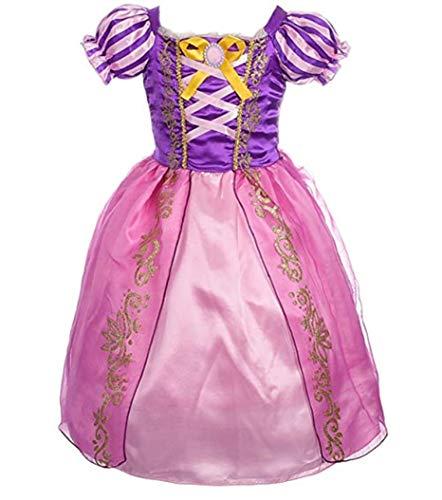 CMFashion Mädchen Prinzessin Kostüm Rapunzel Prinzessinen Kleid Rosa Lila Pink, Größe 130 ()