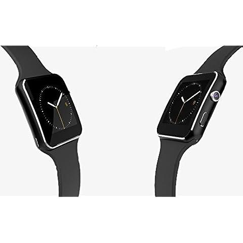 Bluetooth Smart Watch 2016nuovo Bluetooth Smart Watch x6SmartWatch orologio sportivo per Apple Iphone Android Phone con fotocamera supporto FM P130SIM Card (Nero)