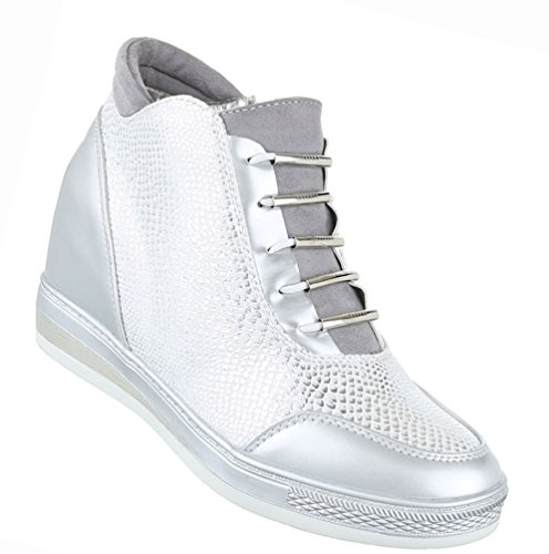 Damen Schuhe Stiefeletten Stiefel Keil Wedges High-top Sneaker Silber 38 (Mädchen High-top Wedge Sneakers)