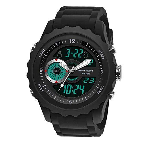 HHyyq Digital-Armbanduhr für Herren, Herren, wasserdicht, Militär-Uhren, legere elektronische Uhr mit Alarm/Timer Outdoor-Sport-Armbanduhr für Männer und Jugendliche(Schwarz) -